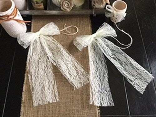 "Set of TWO Elegant All Lace Bows for Pew Chair Table Runner Decor Wedding 8"" Width and Ivory Jute Ties Customize Color Choice Ivory Champagne and White"