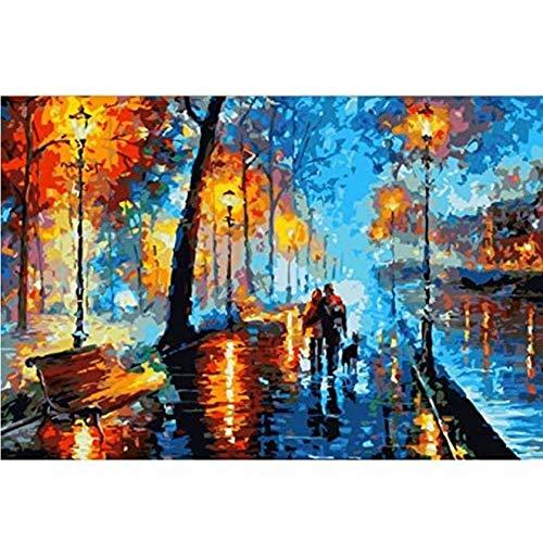 NOBRAND txtnt Rompecabezas de 1000 Piezas Puzzle 3D DIY Paisaje Abstracto Night Walk Picture Set para decoración de Pared 75X50Cm