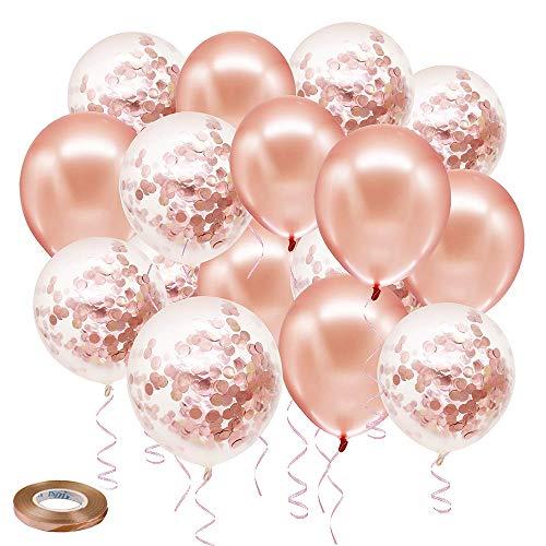 SKYIOL Palloncini a elio, 50 pezzi, 30 cm, rosa, champagne, bianco, oro rosa, coriandoli,...