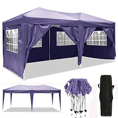Cenador plegable 3 x 3 m / 3 x 6 m, resistente al agua, para jardín, para fiestas, festivales, gazebo plegable, protección solar., color morado, tamaño 3 x 6 m