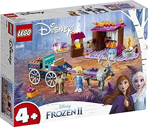 LEGO41166DisneyFrozenIIElsa'sWagonAdventurewithPrincessElsaMiniDolland2ReindeerFigures,EasyBuildPreschoolToyfor4-7YearsOldwithBricksBasePlate