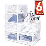 amzdeal Cajas de Zapatos Plásticas 6 Pcs - Organizador de Zapatos Transparente,...