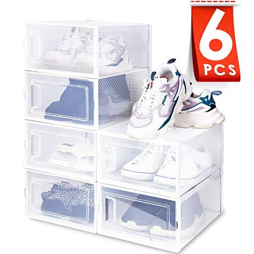 amzdeal Cajas de Zapatos Plásticas 6 Pcs - Organizador de