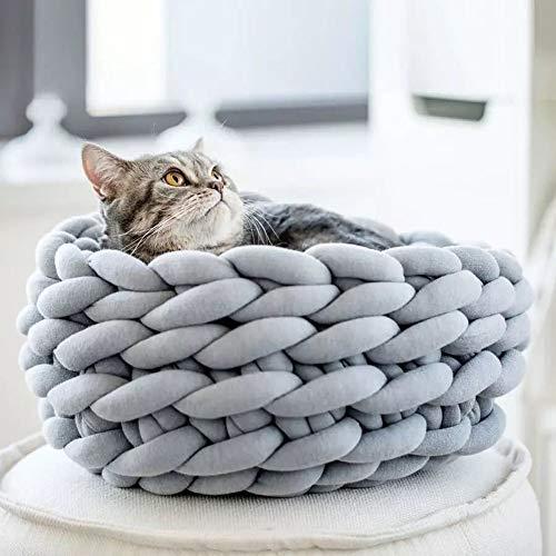 LIGHTOP Katzenbett Pet Bett Katzenhaus Handbuch Grobe Wolle Vorbereitung Kissen Hundebett von Katzenstreu Bequem und Warm Durchmesser (45cm, Grau)