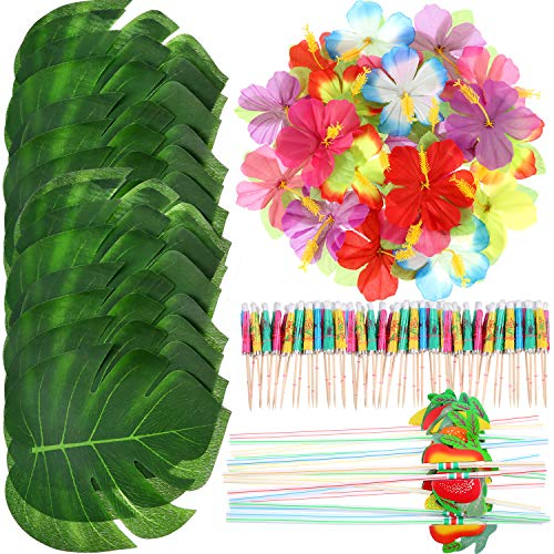 148 Pezzi Decorazioni della Festa a Tema Luau, 24 Pezzi Foglie di Palma Tropicale, 24 Pezzi Fiori Hawaiani, 50 Pezzi Colore Misto Ombrelloni e 50 Pezzi Colorati 3D Cannucce di Frutta