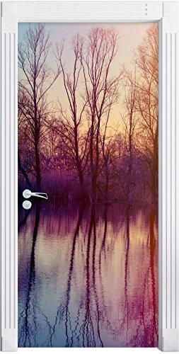 Stil.Zeit Möbel Alberi riflette in Acqua Come Una Carta da Parati Porta, Formato: 200x90cm, Telaio della Porta, Adesivi Porta, Porta Decorazione, autoadesivi del Portello