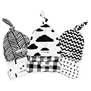 BaeBae Goods Baby Beanies – Newborn Baby Hats 6 Pack – Adjustable Baby Hats in Stylish, Unisex Designs – Baby Boy Hats with Top Knot – Stretchy Newborn Hats for Boys and Girls – Infant Caps Black
