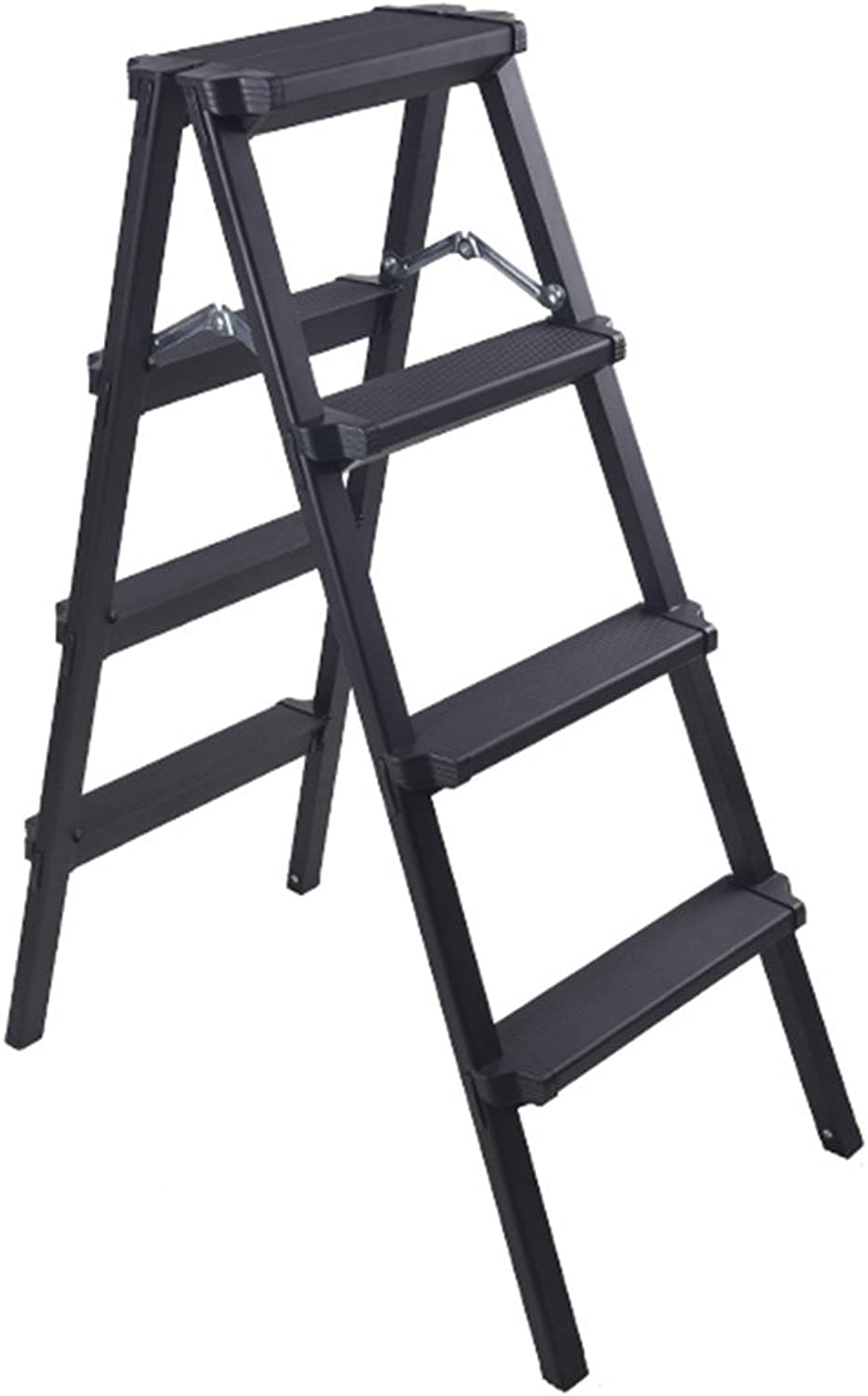 JIEJIEHAO Step stool Home 4 Step Ladder, Folding, Portable With Anti-Slip Mat (color   BLACK)