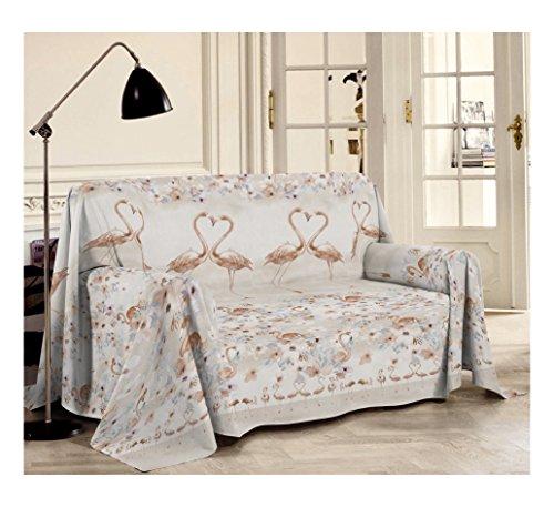 Smartsupershop Flamingo Tagesdecke für Frühling, Sommer, Doppelbett, 250 x 290 cm, Beige aus Jacquard-Baumwolle, hergestellt in Italien