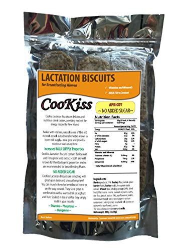 CooKiss Lactation Biscuits for Breastfeeding Women with Vitamins - No Added Sugar (Apricot)