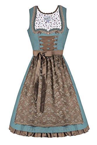 MarJo Moser Trachten Baumwolle Mini Dirndl 55er türkis Taupe Edmana 003810, Rocklänge: ca. 55 cm, mit Reißverschluss, Größe 38