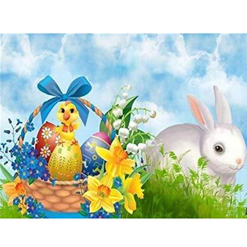 DIY 5D Kit de pintura de diamante por número Mascota huevo animal conejo cuadro de punto de cruz, para decoración del hogar, decoración de pared o regalo 30X40cm(Sin marco)