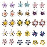 SUNNYCLUE 1 Caja 30 Unids Esmalte Flor Encantos Aleación Flor de Cerezo Colgante para DIY Joyería Collar Pulsera Pendiente Artesanía