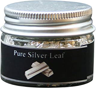 Edible Genuine Silver Leaf Flakes, 100mg Pure Silver Flakes Facial Mask Decorative Dishes,Genuine Silver Leaf for Cooking, Cakes & Chocolates, Decoration