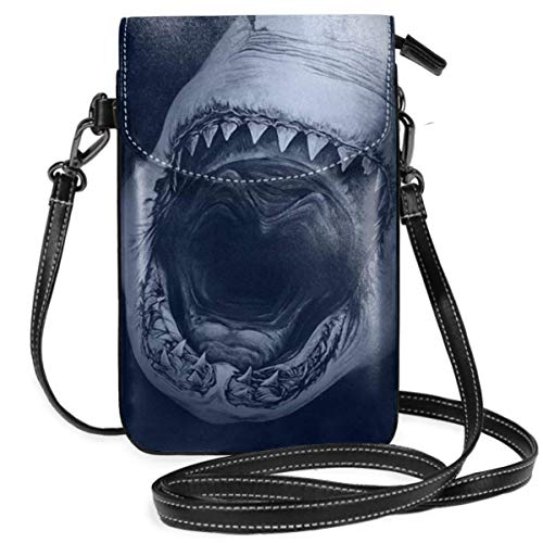 Small Cell Phone Purse For Women Leather Great White Shark Insides Card Slots Crossbody Bags Wallet Shoulder Bag