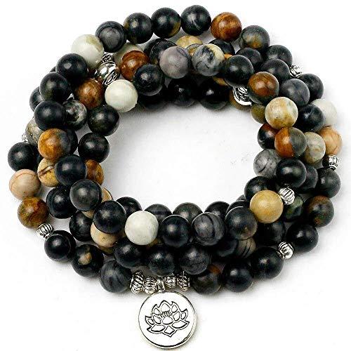 JIN Personalizzati Bracciale Natural Black Beads Della Signora Charm Bracelet Yoga Gioielli Marathon 108 Buddha Statue Collana Mens Zen,F