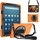 ZenRich Amazon Fire HD 8 Case Fire HD 8 Plus Case zenrich Shockproof Case with Kickstand Hand Strap and Shoulder Strap for Kindle Fire HD 8 Inch Tablet 2020 Release 10th Generation,Orange