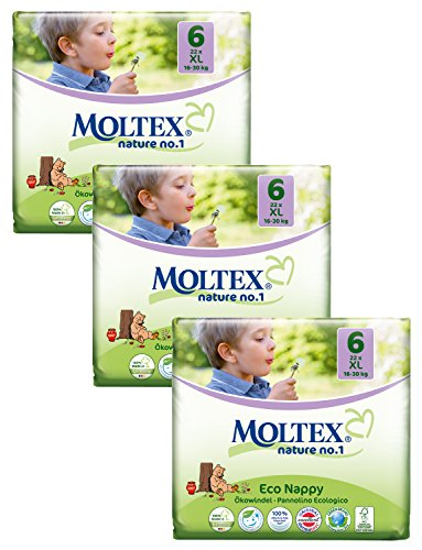 3x MOLTEX Nature No1 Ökowindeln Babywindeln XL Gr 6 (16-30 kg) 27 Stück