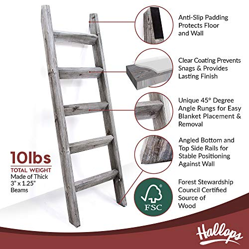 Blanket Ladder 5 ft. Premium Wood Rustic Decorative Quilt Ladder. Gray White Vintage Wooden Decor. Throw Blankets Holder Rack
