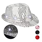 Relaxdays- Cappello da Festa con Paillettes, 6 Luci a LED, Glitter, da Uomo e Donna per Adulti, Argento, 10023897_55