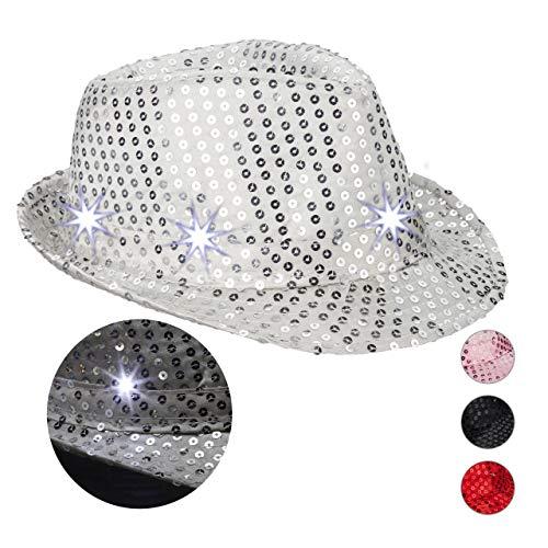 Relaxdays 10023897_55 Pailletten Hut, 6 blinkende LEDs, mit Glitzer, Männer & Frauen, JGA, Fasching, Partyhut, Einheitsgröße, silber, Unisex– Erwachsene