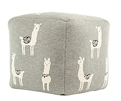 Creative Co-op Cotton Knit Pouf with White Llama Images Seating, Grey