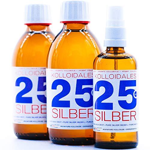 Kolloidales Silber 600ml 25PPM 2 * 250ml & Spray 100ml Silberwasser ● tgl. Produktion und Direktlieferung ● Made in Germany