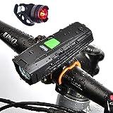 luz de la bicicleta ,Potente Luces Bicicleta Delantera y Trasera .Lámpara de la Bici LED Frontal para Manillar de Bicicleta.Luz Bicicleta Recargable USB ,IP65 Resistente con 5 Iluminación Modos