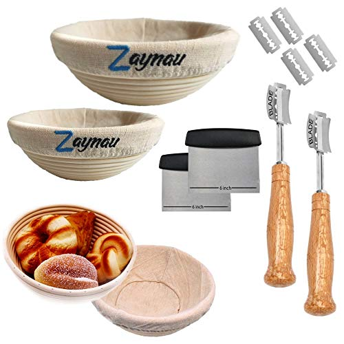 Zaynau 10 Inch Round Bread Banneton Proofing Basket Set Of 2...