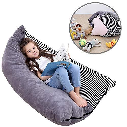 UMyhou Bean Bag-Stuffie Seat-gevulde dier-organizer in grijs-extra grote speelgoed-organizer-soft & comfy cover, speelgoed opbergen zitzak 100% premium velvet