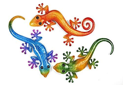 Kobolo Wand-Deko Gekko Gecko Eidechse Echse XXL - 3er Set - Metall - 47, 45 und 43 cm