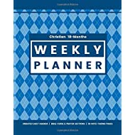 Christian 18-Months WEEKLY PLANNER Undated Daily Agenda   Bible Verse & Prayer Sections   30 Note-taking Pages: Modern Blue Argyle Cover for Teen Boys and Men