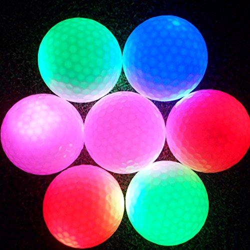 Tbest 1 Stück Golfbälle nachts LED Light-up Golfbälle blinkend lange Lebensdauer Wurf Wiederverwendbare Leuchtende Nacht Elektronischer Golfball für dunkle Nacht Golfbälle praktisch SP, grün