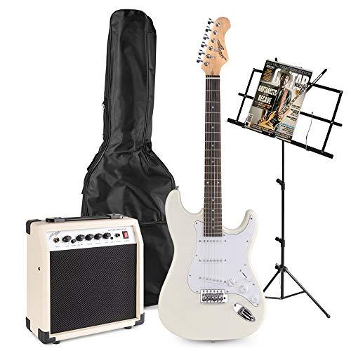 Johnny Brook JB402 Witte Elektrische Gitaar Starterset met Muziekstandaard