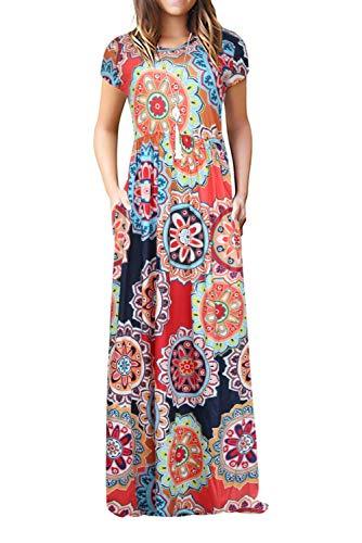 Damen Sommerkleider Kurzarm Lose Blumen Maxikleider Casual Lange Kleider mit Taschen, Blumen-bunt, S