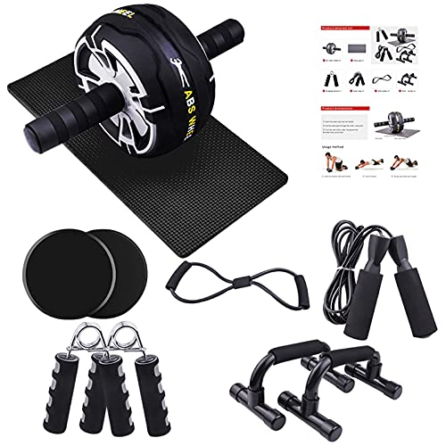 JAMKGAO Ab Roller for Abs Workout, 9-in-1 Ab Wheel Roller Kit with Knee Pads, Skipping Rope, Hand Exerciser, Home Fitness Equipment for Men and Women Core Strength and Abdominal Exercises