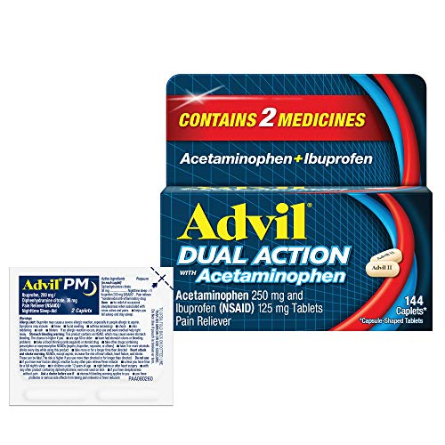 Advil Dual Action with Acetaminophen and Ibuprofen for 8 Hour Pain Relief, Coated 144 ct Caplets + 2 ct. Sample of Advil PM