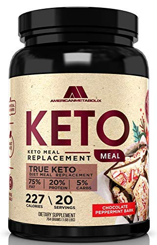 American Metabolix Keto Meal Chocolate Peppermint Bark | Ketogenic Diet, Meal Replacement Shake, Keto Protein Powder - High Fat, Low Carb, Protein Powder Supplement - 20 Servings