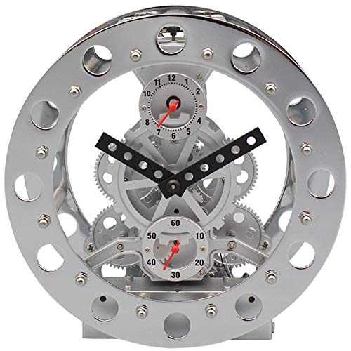 WHSS Reloj de pulsera de acero con anillo de reloj de noche, 20 x 20 cm, color plateado