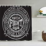 SUHOM Duschvorhang,Label MMA Kampf Boxen Sport Grafiken Erholung Fitness Vintage Martial Abzeichen Emblem Club Retro,personalisierte Deko Badezimmer Vorhang,mit Haken,180 * 180