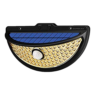GUMGLEX Solar Motion Lights Outdoor 90LED with Electroplated Reflector, Waterproof Wireless Sensor Security Lights for Garden Backyard Fence Patio Deck - 1 Pack - Golden