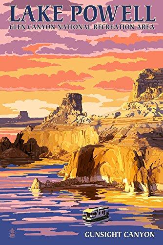 Lake Powell, Gunsight Canyon and Sunset (12x18 Art Print, Wall Decor Travel Poster)
