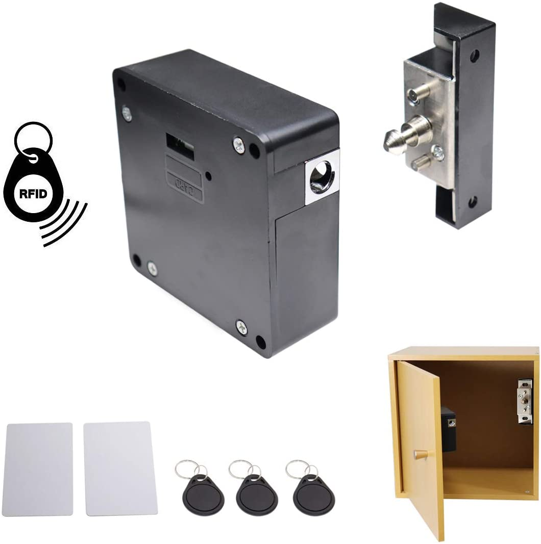 ETEKJOY RFID Electronic Cabinet Lock Hidden DIY for Wooden Cabinet Locker Drawer Cupboard Box with 5PCS IC Cards/Tags