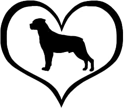 YINGJUN Sticker 11x9.5CM Rottweiler Dog Heart Car Cartoon Animal Car Styling Decoratie hulpmiddelen raamstickers Zwart/Zil...