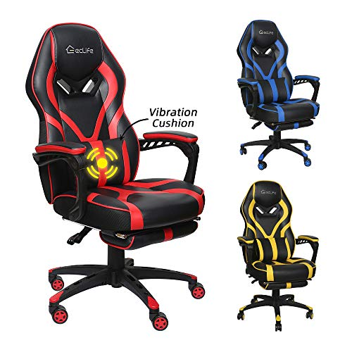 Okeysen Gaming Chair,Ergonomic High Back Office Desk Chair, Swivel Executive Computer Chair with Retractable Footrest, Lumbar Support and headrest, PU Leather Recliner Home Chair. (Red)
