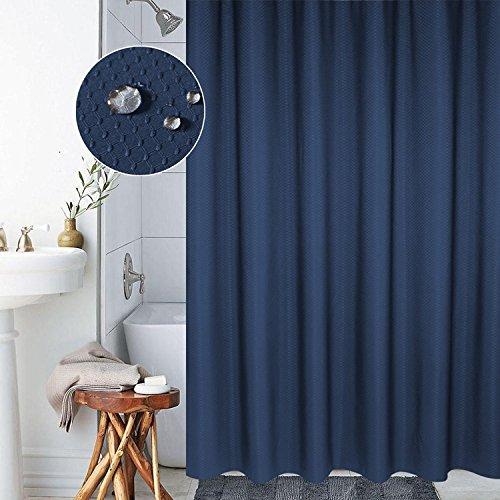 Ombre texturé Rideau de douche avec bagues de perles, gris foncé, Polyester, bleu, 72x72