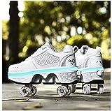 LLH Chaussures Déformées Multifonctionnelles Enfants Étudiants Patins À roulettes pour Adultes Patins À roulettes Sports De Plein Air Patinage Voyage Meilleur Choix, pour Cadeau Unisexe,White-34