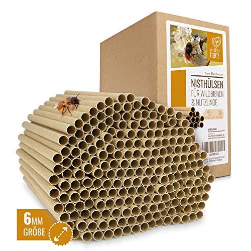 wildtier herz | 200 Nisthülsen mit Ø 6mm für Wildbienen - 100% ökologische Pappröhrchen für Insektenhotel, Niströhren & Bruthülsen als Füllmaterial für Bienenhotel