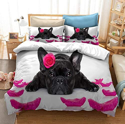 Ropa de cama de 220 x 240 cm, juego de cama 3D animal perro panda premium funda nórdica y funda de almohada juego de cama infantil para todo el año fácil cuidado