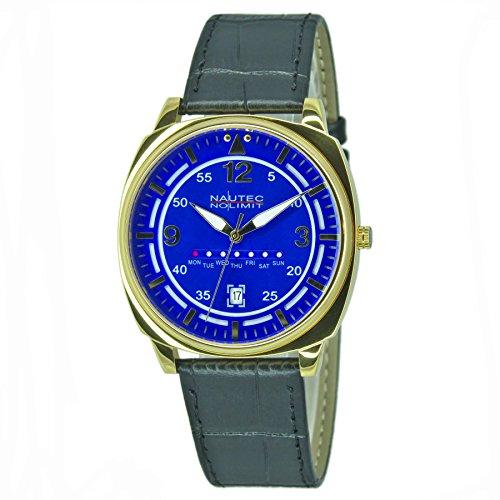 Nautec No Limit Unisex Erwachsene Analog Quarz Uhr mit Leder Armband 126302